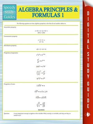 cover image of Algebra Principles and Formulas 1