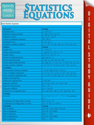 cover image of Statistics Equations