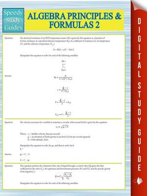 cover image of Algebra Principles and Formulas 2