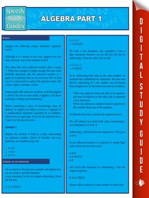 cover image of Algebra, Part 1
