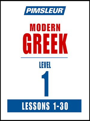 cover image of Pimsleur Greek Level 1 MP3