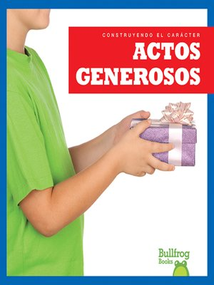 cover image of Actos generosos (Showing Generosity)