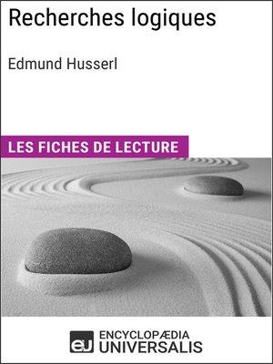 cover image of Recherches logiques d'Edmund Husserl