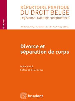 cover image of Divorce et séparation de corps