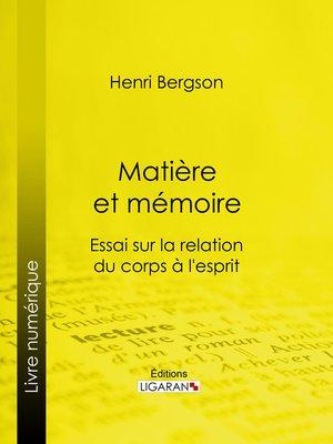 cover image of Matière et mémoire
