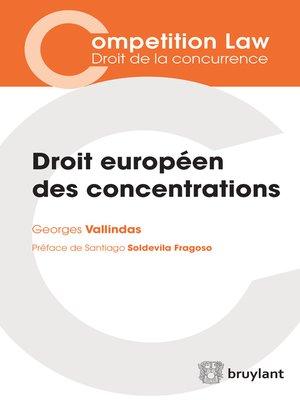 cover image of Droit européen des concentrations