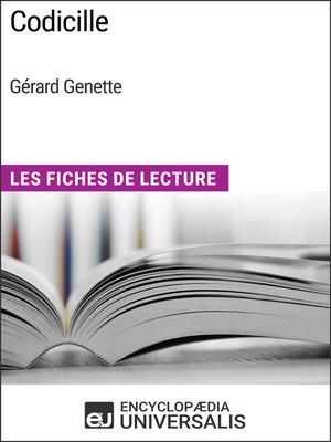 cover image of Codicille de Gérard Genette