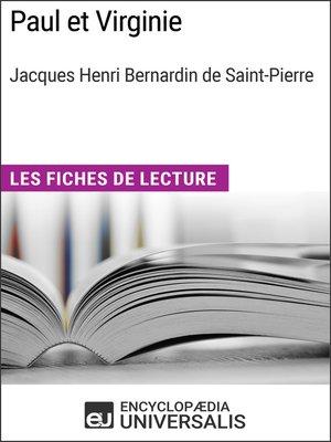 cover image of Paul et Virginie de Bernardin de Saint-Pierre
