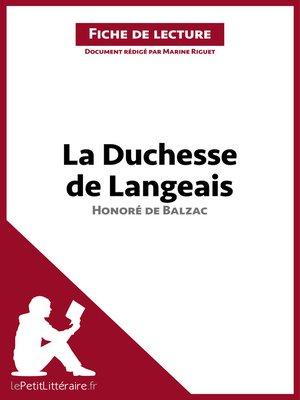 cover image of La Duchesse de Langeais de Balzac (Fiche de lecture)