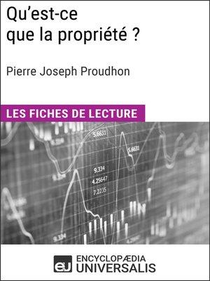 cover image of Qu'est-ce que la propriété? de Pierre Joseph Proudhon