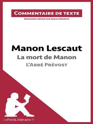 cover image of Manon Lescaut de l'Abbé Prévost--La mort de Manon