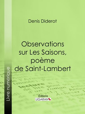 cover image of Observations sur Les Saisons, poème de Saint-Lambert