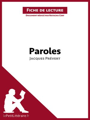 cover image of Paroles de Jacques Prévert--Fiche de lecture