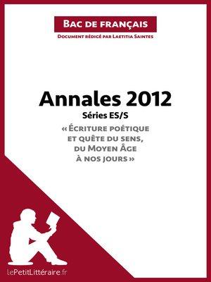 cover image of Bac de français 2012--Annales Série ES/S--Corrigé