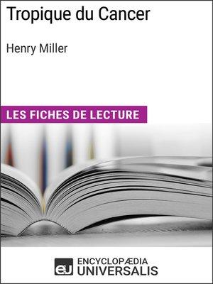 cover image of Tropique du Cancer d'Henry Miller