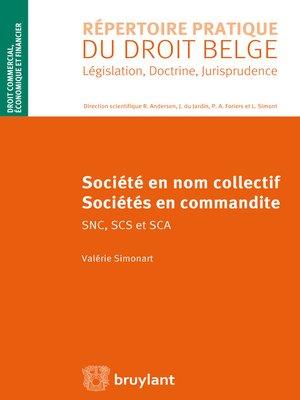 cover image of Sociétés en nom collectif et sociétés en commandite