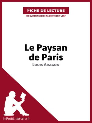 cover image of Le Paysan de Paris de Louis Aragon (Fiche de lecture)