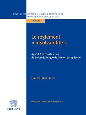 """cover image of Le règlement """"insolvabilité"""""""