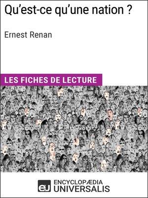 cover image of Qu'est-ce qu'une nation ? d'Ernest Renan