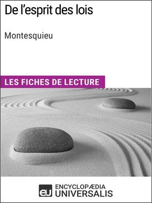 cover image of De l'esprit des lois de Montesquieu