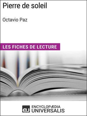 cover image of Pierre de soleil d'Octavio Paz