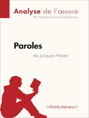 cover image of Paroles de Jacques Prévert (Analyse de l'oeuvre)