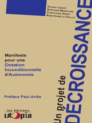 cover image of Un projet de décroissance