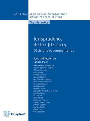 cover image of Jurisprudence de la CJUE 2014