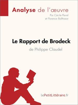 cover image of Le Rapport de Brodeck de Philippe Claudel (Analyse de l'oeuvre)