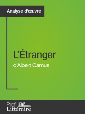 cover image of L'Étranger d'Albert Camus (Analyse approfondie)