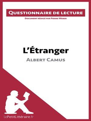 cover image of L'Étranger d'Albert Camus