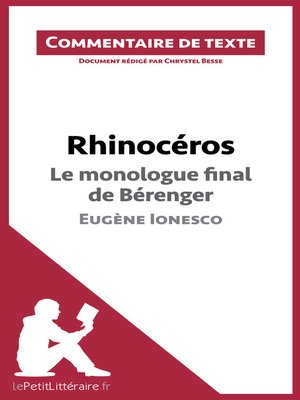 cover image of Rhinocéros de Ionesco--Le monologue final de Bérenger
