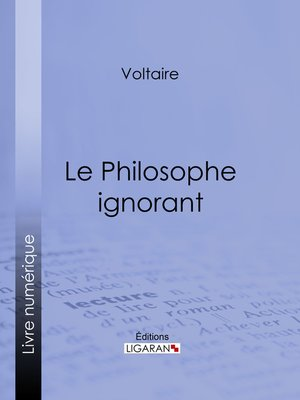 cover image of Le Philosophe ignorant