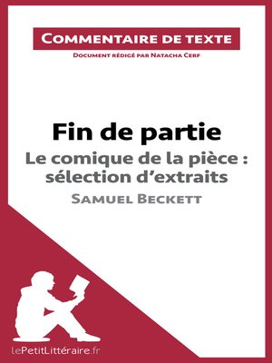 cover image of Fin de partie de Beckett--Le comique de la pièce