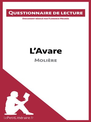 cover image of L'Avare de Molière