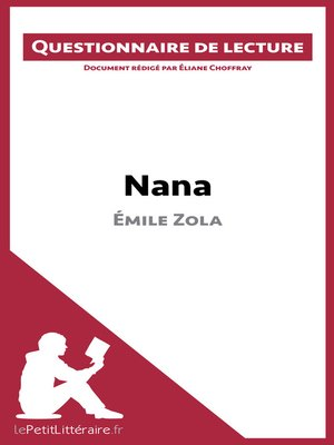 cover image of Nana d'Émile Zola