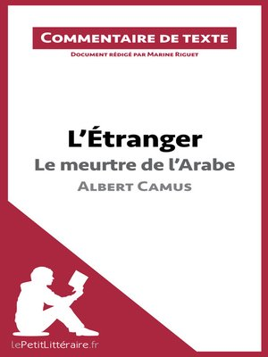 cover image of L'Étranger de Camus--Le meurtre de l'Arabe