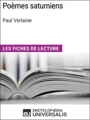cover image of Poèmes saturniens de Paul Verlaine