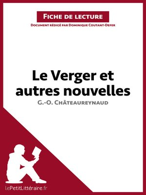cover image of Le Verger et autres nouvelles de Georges-Olivier Châteaureynaud (Fiche de lecture)