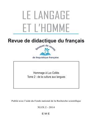 cover image of De la culture aux langues