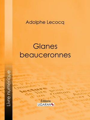 cover image of Glanes beauceronnes