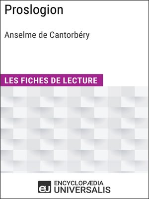 cover image of Proslogion d'Anselme de Cantorbéry