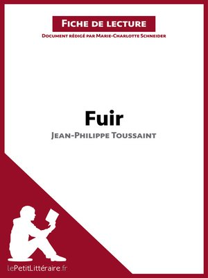 cover image of Fuir de Jean-Philippe Toussaint (Fiche de lecture)