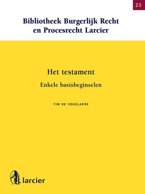 cover image of Het testament