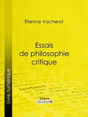 cover image of Essais de philosophie critique