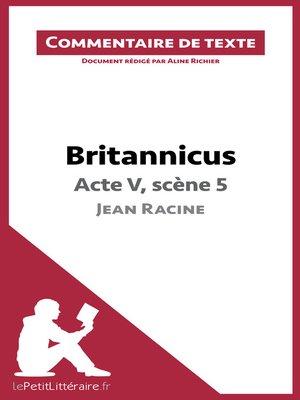 cover image of Britannicus de Racine--Acte V, scène 5