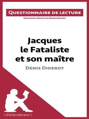cover image of Jacques le Fataliste et son maître de Denis Diderot