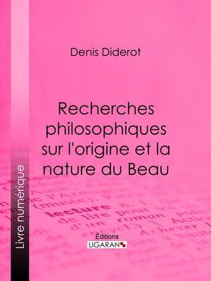 cover image of Recherches Philosophiques sur l'Origine et la Nature du Beau