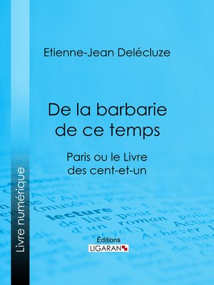 cover image of De la barbarie de ce temps