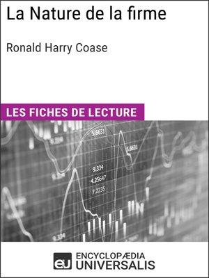 cover image of La Nature de la firme de Ronald Harry Coase